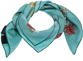 Gucci Turquoise Blue Bloom Silk Square Scarf