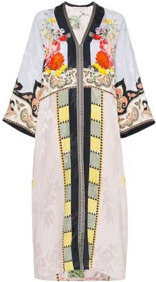 Etro floral print patchwork kaftan dress