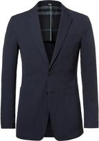Burberry Blue Stretch-Cotton Seersucker Blazer