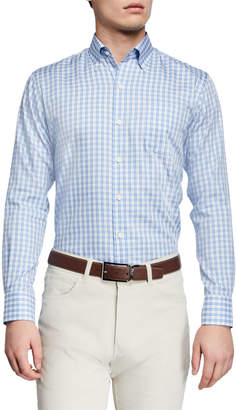 Peter Millar Men's Lambert Cotton-Silk Plaid Sport Shirt