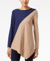 Alfani Petite Colorblocked Asymmetrical-Hem Sweater, Only at Macy's
