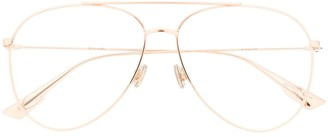 Christian Dior Aviator-Frame Clear Lens Glasses