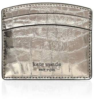 Kate Spade Sylvia Croc-Embossed Patent Leather Card Holder