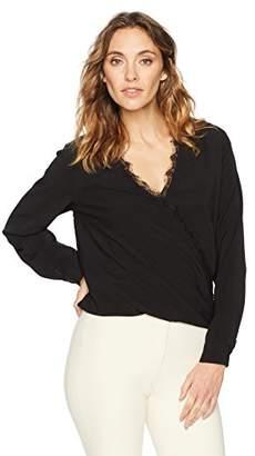 Suite Alice Women's Long Sleeve V-Neck Wrap Front Lace Trim Woven Blouse