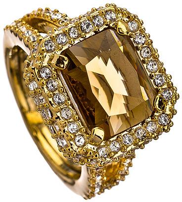 ABS by Allen Schwartz Smokey Quartz Crystal Holiday Gems Cocktail Ring