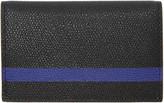 Valextra Black and Blue Stripe Business Card Holder