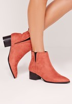 Missguided Pointed Toe Ankle Boots Pink