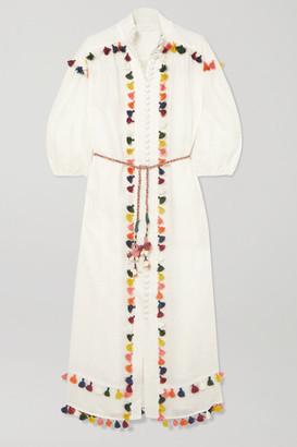 Zimmermann Edie Belted Tasseled Linen Midi Dress - Off-white