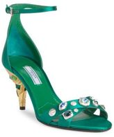 Prada Jeweled Satin Ankle-Strap Sandals