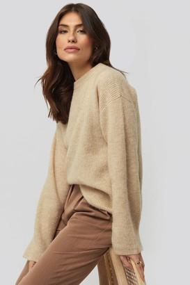 NA-KD Alpaca Wool Blend Round Neck Sweater Beige