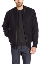French Connection Men's Reed Wool-Cashmere Bomber with Faux-Shearling Lining