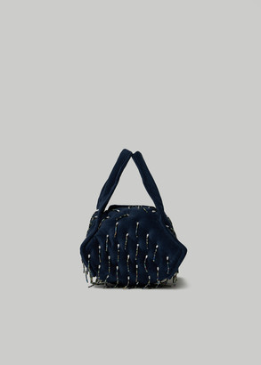 KHAORE Women's Pillow in Navy with Pearl Embroidery Bag in Navy/Pearl Hanging Embroidery