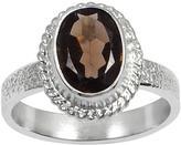 Ice 1 1/5 CT TW Smokey Quartz White Rhodium-Plated Brass Fashion Ring