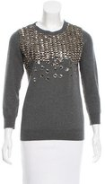Lela Rose Embellished Fine Knit Sweater