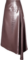 Roland Mouret Piper Asymmetric Draped Lamé Midi Skirt - Purple