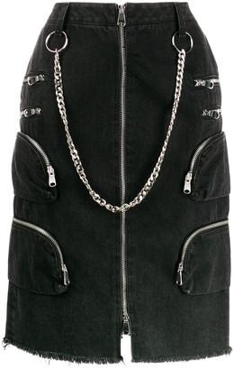 Faith Connexion Chain Detail Denim Skirt