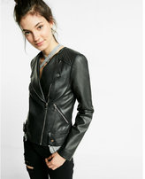 Express minus The) Leather Quilted Collarless Moto Jacket