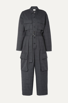 Frankie Shop - Linda Belted Checked Woven Jumpsuit - Charcoal