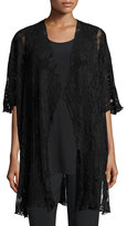 Caroline Rose Pleated Lace Caftan, Black, Plus Size