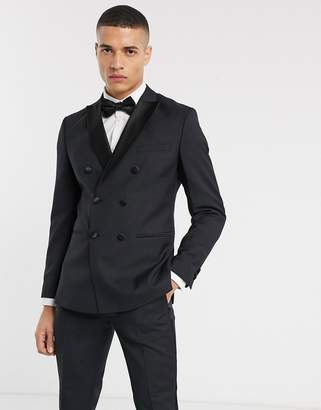 Jack and Jones double breasted tux suit jacket in black