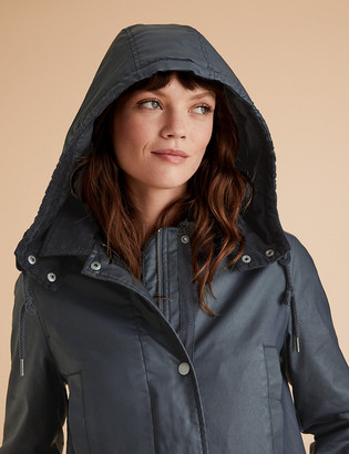 Marks and Spencer Wax Look Longline Jacket