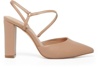 Forever New Ivana Asymmetric Strap Block Heels - Taupe - 36