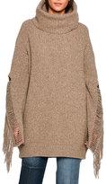 Stella McCartney Oversized Fringe-Trim Turtleneck Sweater, Light Brown