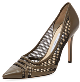 Jimmy Choo Hetti Leather & Net Pointed-Toe Pump