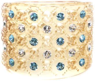 Gucci Yellow Transparent Resin Gg Monogram Crystal Cuff Bracelet