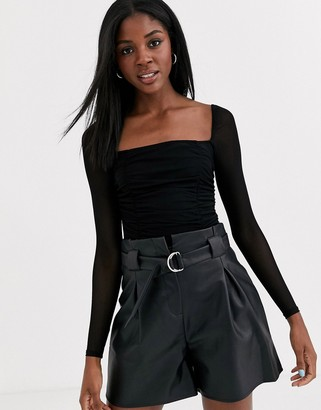 Outrageous Fortune square neck body with sheer sleeve in black