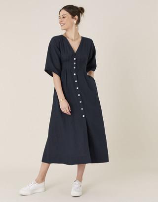 Monsoon Button-Through Midi Dress in Pure Linen Blue