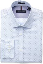 Tommy Hilfiger Men's Non Iron Slim Fit Print Spread Collar Dress Shirt