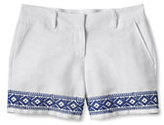 "Lands' End Women's Petite Too-Low Rise 5"" Linen Shorts-China Blue"