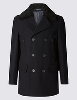Limited Edition Tailored Fit Borg Peacoat With Wool