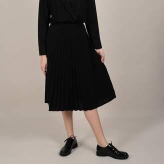 Molly Bracken Pleated Midi Skirt in Shiny Fabric