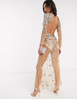 Asos Design DESIGN sheer long sleeve embellished maxi dress with open back