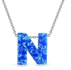 Bling Jewelry Blue Created Opal Initial Letter Alphabet Pendant Necklace Sterling