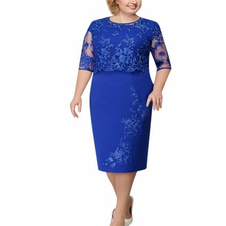 Tosonse Elegant Lace Floral Embroidered Pencil Dresses Half Sleeve Bodycon Evening Party Dress Knee Length