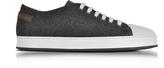 Santoni White Leather and Dark Gray Felt Men's Sneakers