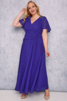 Yours Clothing SCARLETT & JO Sapphire Blue Chiffon Maxi Dress With Embellished Shoulders