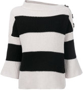 Nude striped buttoned jumper