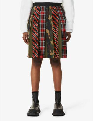 Benetton Checked and camo print crepe midi skirt
