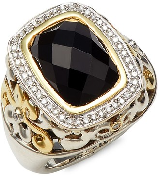 Charles Krypell 18K Yellow Gold Sterling Silver Black Spinel Diamond Statement Ring