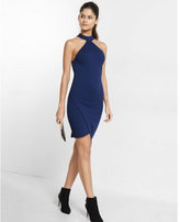 Express high neck asymmetrical cutaway dress