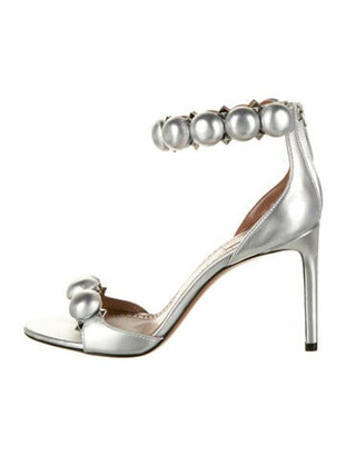 Alaia Leather Studded Accents Sandals Silver