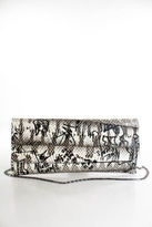 Carlos Falchi NWT Brown White Black Leather Graphic Lizard Print Clutch Handbag