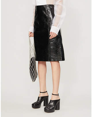 we11done WE11 DONE Snake-embossed faux-leather midi skirt