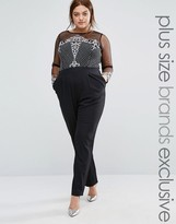 Little Mistress Plus Sequin Embroidered Jumpsuit With Mesh Sleeves