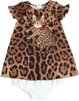 Dolce & Gabbana Leopard Printed Cotton Poplin Dress Set