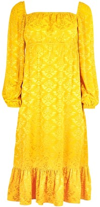 Blonde Gone Rogue Empire Dress In Mustard Yellow